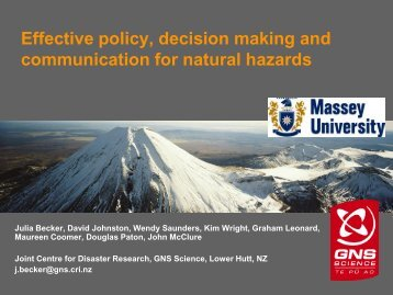 Effective policy, decision making and communication for natural ...
