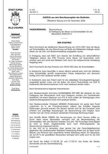 Steuer auf Schankstätten - Stadt Eupen