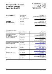 Wichtige Telefon-Nummern und E-Mail Adressen Ihrer Service-KV