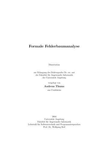 Formale Fehlerbaumanalyse - OPUS Augsburg - Universität Augsburg