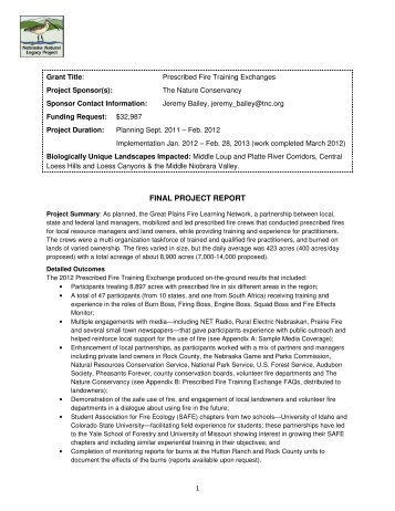 FINAL PROJECT REPORT - Nebraska Game and Parks Commission