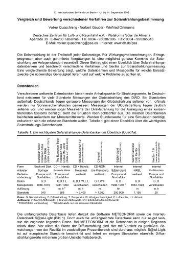 Vergleich und Bewertung verschiedener Verfahren zur ...
