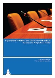 Department of Politics and International Relations - Royal Holloway ...