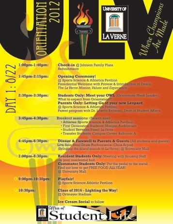 Orientation 2012 Day 1 - Sites at La Verne