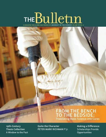 From the Bench to the Bedside: - University of the Sciences in ...