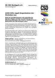 IG CSD Stuttgart e.V. AIDS-Hilfe regelt Organisation der Hocketse neu
