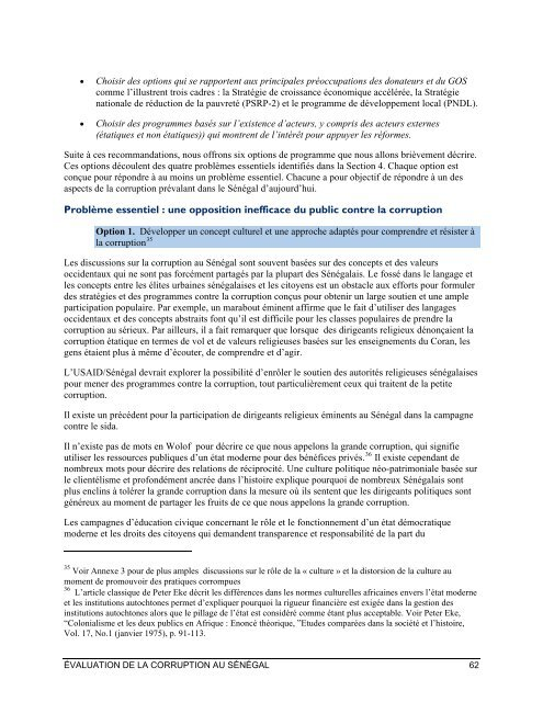 ÉVALUATION DE LA CORRUPTION AU SÉNÉGAL