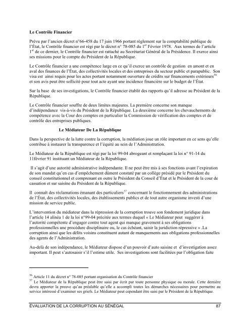 ÉVALUATION DE LA CORRUPTION AU SÉNÉGAL