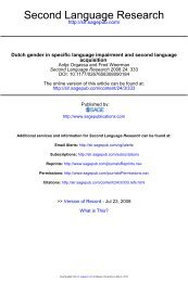 Dutch gender in specific language impairment ... - Bangor University