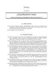 Satzung der Orgelakademie Stade