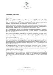 Musikalische Leitung - J. S. Bach-Stiftung