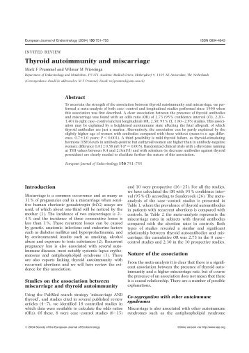 Thyroid autoimmunity and miscarriage - European Journal of ...