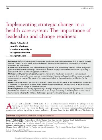Implementing strategic change in a health care system - Faculty ...