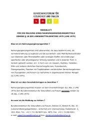 BMG - Merkblatt für die Meldung eines diätetischen Lebensmittel