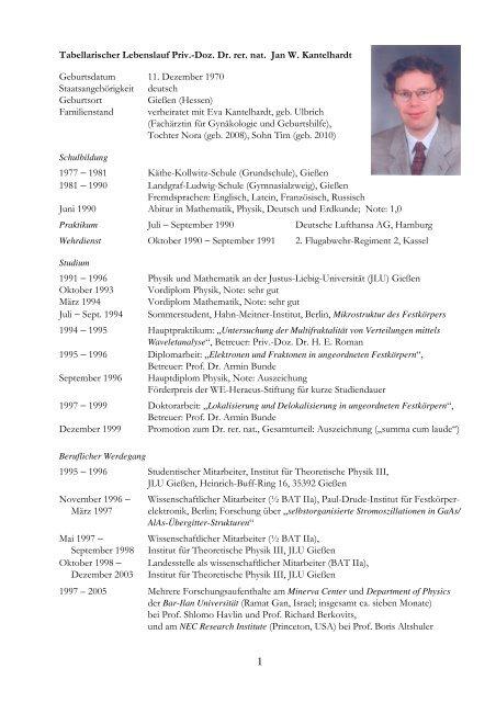 1 Tabellarischer Lebenslauf Priv Institut Für Physik Martin