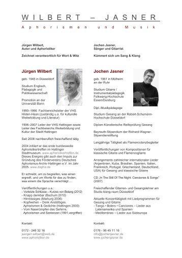 Info - Jochen Jasner, Gitarrist und Sänger