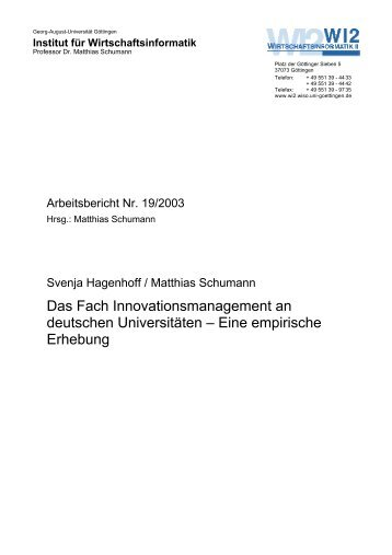 Das Fach Innovationsmanagement an deutschen Universitäten ...