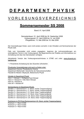 Sommersemester 2008 - Fachbereich Physik - Universität Hamburg