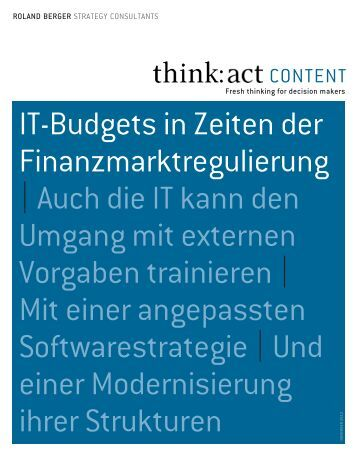 IT-Budgets in Zeiten der Finanzmarktregulierung - Roland Berger