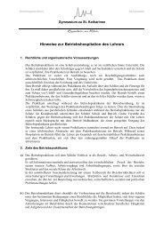 Hinweise zur Betriebshospitation des Lehrers - Gymnasium zu St ...
