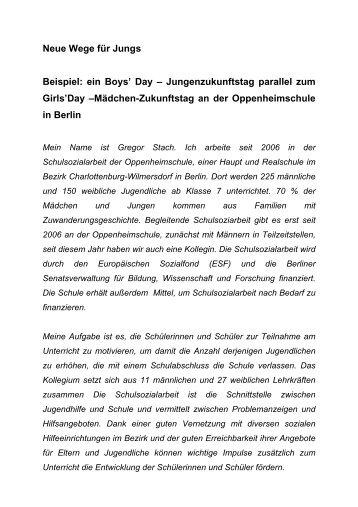 Neue Wege für Jungs - Boys Day 2009 (deutsch
