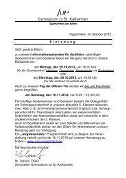 Die Einladung zu den Informationsabenden und weitere Informationen