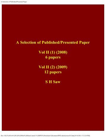A Selection of Published/Presented Papers - Universal Plasma ...