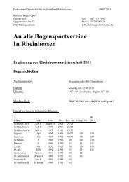 An alle Bogensportvereine In Rheinhessen - BSC Oppenheim
