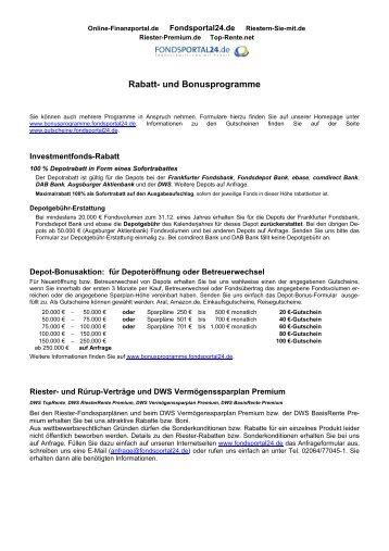 Rabatt- und Bonusprogramme - Fondsportal24.de