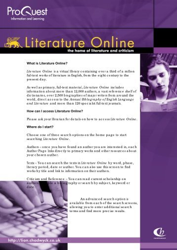 What is Literature Online? Literature Online is a ... - HKU Libraries