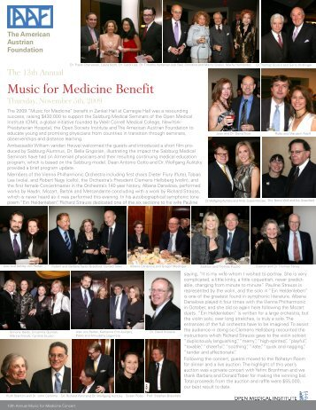 Music for Medicine Benefit - American Austrian Foundation Online