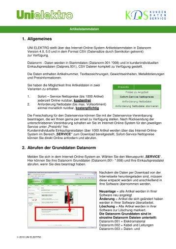 1. Allgemeines 2. Abrufen der Grunddaten Datanorm - uni elektro