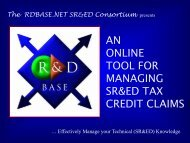 AN ONLINE TOOL FOR MANAGING SR&ED TAX ... - RDbase.net