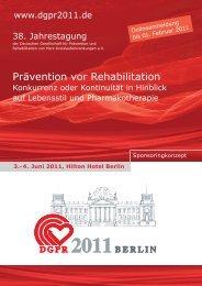Prävention vor Rehabilitation