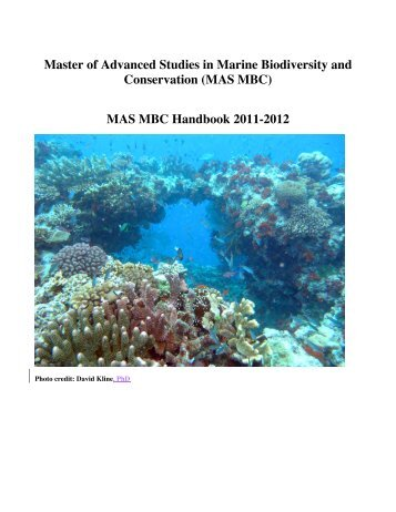 MAS-MBC Handbook 2011-2012 - Center for Marine Biodiversity ...