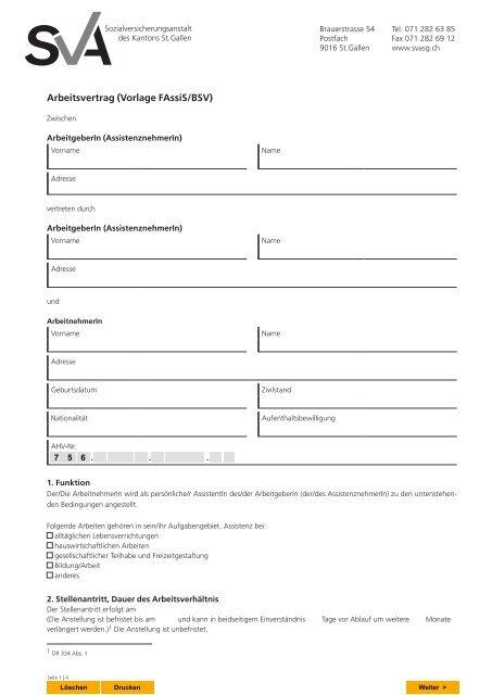 Arbeitsvertrag Vorlage Fassisbsv Sva Stgallen