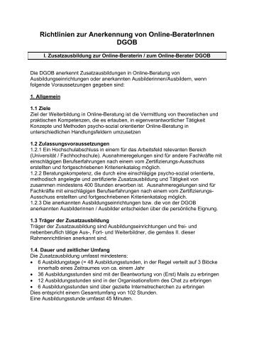 Richtlinien zur Anerkennung von Online-BeraterInnen DGOB