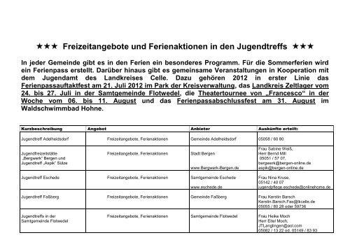 Freizeitangebote und Ferienaktionen in den ... - Landkreis Celle