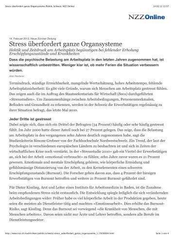 Stress überfordert ganze Organsysteme (Politik, Schweiz, NZZ Online)