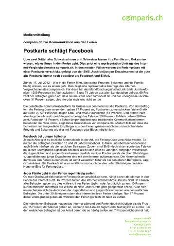 Postkarte schlägt Facebook - Comparis.ch