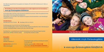 Herbstferien 2012 Übersicht OGS-Ferienangebote - Bielefelder