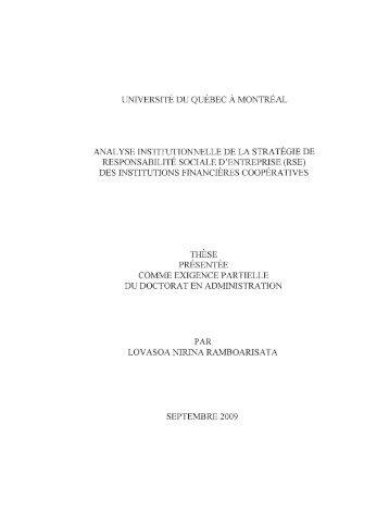 Analyse institutionnelle de la stratégie de ... - Archipel - UQAM