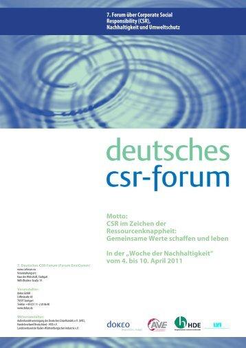 Motto: CSR im Zeichen der Ressourcenknappheit: Gemeinsame Werte ...