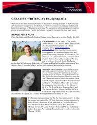 CREATIVE WRITING AT UC, Spring 2012 - University of Cincinnati