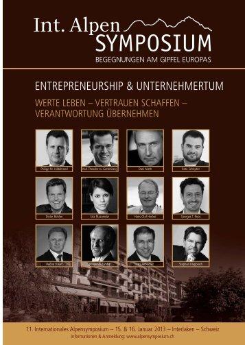 ENTREPRENEURSHIP & UNTERNEHMERTUM - Alpensymposium