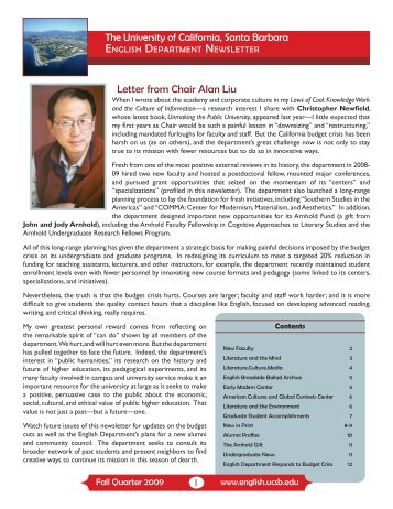 Letter from Chair Alan Liu - UCSB English - University of California ...