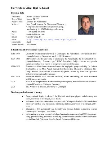 Bert de Groot - Max-Planck-Institut für biophysikalische Chemie