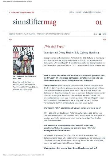 Sinnstiftermag.de | Kirche und Kommunikation | Ausgabe 01