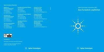 dem Fortschritt verpflichtet - Agilent Technologies