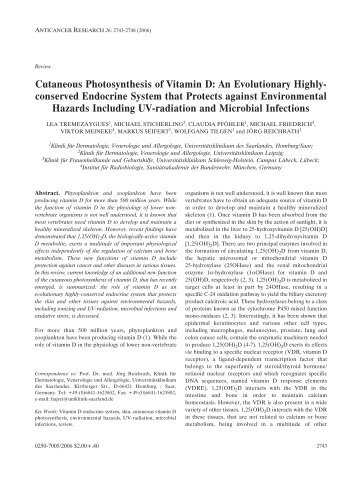 Cutaneous Photosynthesis of Vitamin D - Anticancer Research